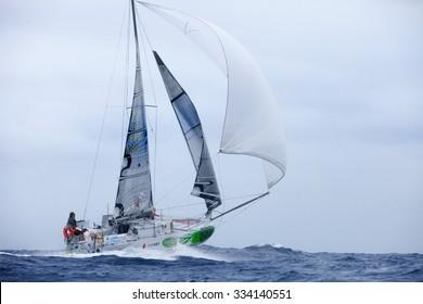 LANZAROTE, SPAIN - OCTOBER 31: Simon Koster in Mini Transat Iles de Guadeloupe October 31,  2015. Lanzarote, Canaries islands, Spain.