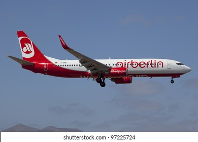 LANZAROTE, SPAIN - OCTOBER 8: Air Berlin Boeing 737-800 on approach on October 8, 2011 in Lanzarote, Spain. Air Berlin is Germany's second largest airline with 34 million passengers in 2010.