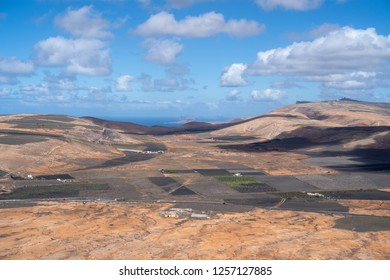 Lanzarote volcanic island in the Canary Islands, Spain. Panoramic elevated view