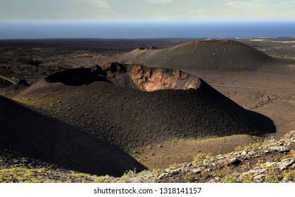 Lanzarote. Volcano crater in Timanfaya National Park, Lanzarote Canary islands, Spain.