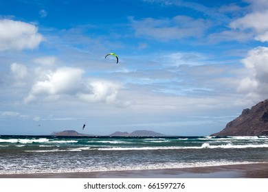 Lanzarote, windsurfing on the Famara beach, Canary Islands