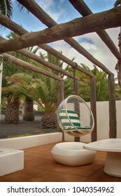 Hária, Lanzarote/Spain - 09/18/2017: Cesar Manrique House Museum, sitting on the terrace