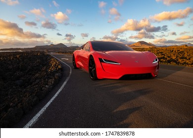 Lanzarote,Spain-May 2019:2020 Tesla Roadster on the road in the Canary Islands