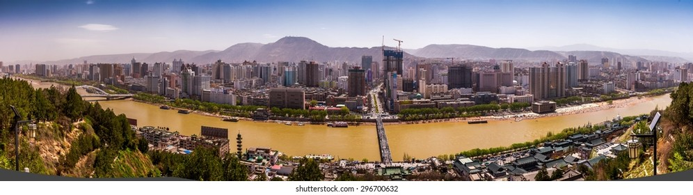 LANZHOU, CHINA-APRIL 12,2015: Yellow River landscape taken on April 12, 2015 in Lanzhou, China.