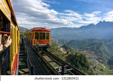 Lao Cai, Vietnam - Jan 4, 2019: Mountain train, the transportation to Fansipan cable car station at Sa Pa, Vietnam