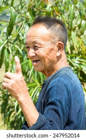 LAO CHAI VILLAGE, VIETNAM - SEP 22, 2014: Unidentified Hmong old man in Lao Chai. Hmong is on of the minority ethnic group in Vietnam