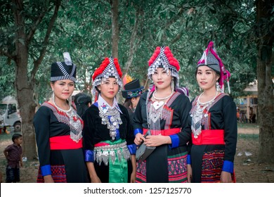Lao girl BAN Nongsonghong , LAOS - December 10 : Girls from the Hmong Minority in Ban Nongsonghong village Laos on December 10 2018. The Hmong minority is one of the 50 ethnic groups of Laos - Image