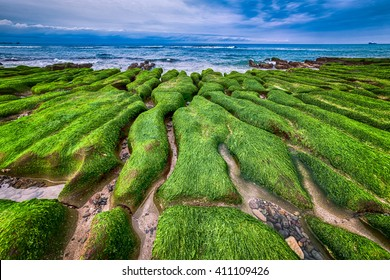 Lao Mei green rock troughs /The green Reef and on a cloudy day, Taiwan, New Taipei