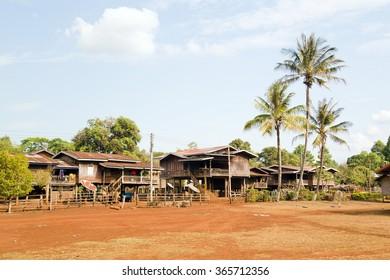 Lao village life around coffee planted Bolaven Plateau, Pakse, Laos
