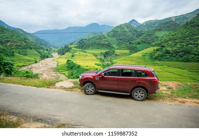 Laocai, Vietnam - Sep 15, 2017: Ford Everest car on the moutain road in test drive in North West of Vietnam.