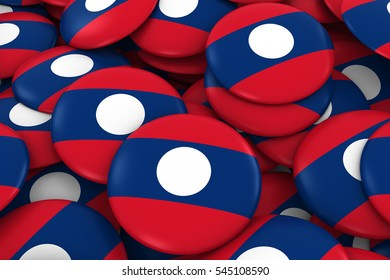 Laos Badges Background - Pile of Laotian Flag Buttons 3D Illustration