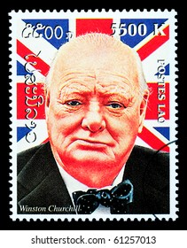 LAOS - CIRCA 2000: A postage stamp printed in Laos showing Winston Churchill, circa 2000