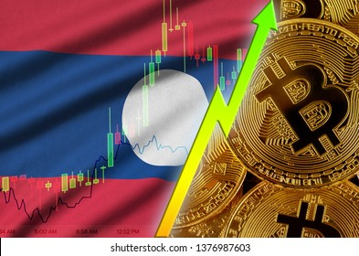 Laos flag and cryptocurrency growing trend with many golden bitcoins