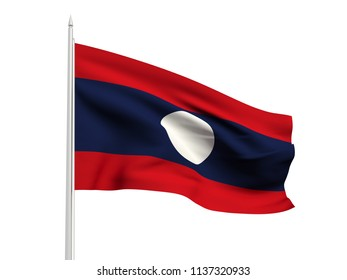 Laos flag floating in the wind with a White sky background. 3D illustration.
