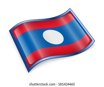 Laos Flag icon, isolated on white background.