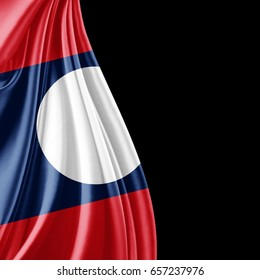 Laos flag  of silk with copyspace for your text or images and black background-3D illustration