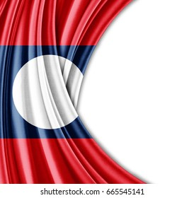 Laos flag of silk with copyspace for your text or images and white background-3D illustration