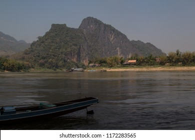 Laos: the mekong river seen from the lower Pak Ou cave near Luang Prabang