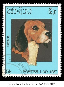 Laos - stamp printed in1971, Series Fauna, Animals, Dogs, Beagle