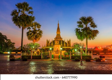 Laos travel landmark, golden pagoda wat Phra That Luang or Pha That Luang, Vientiane, Laos.
