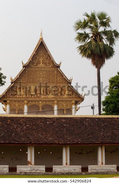 Laos,Gable Church of Wat Phra That Luang, Laos.
