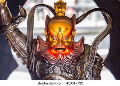 Laoshan,China 21/04/2016 Daoist god of protecting people from evil in a temple at Laoshan China