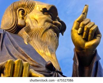 Lao-tzu statue in Palace of Heaven on laoshan mountains qingdao city shandong province China.