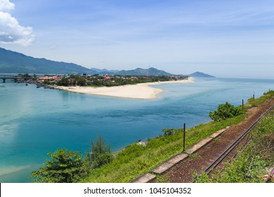 Lap An lagoon and Lang Co bay view from the railway. This part of the railway passes through Hai Van pass, Lap An lagoon and Lang Co bay in Hue province and has the most beautiful views in Vietnam