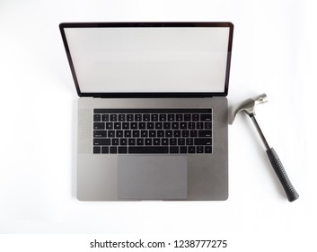 Lap top topview with hands on white background. Mockup developing tool.