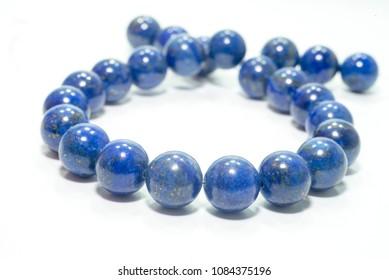lapis lazuli bracelet isolated on white background.