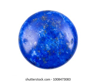 Lapis lazuli coin from Pakistan isolated on white background