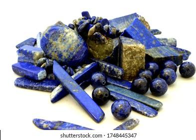 lapis lazuli stones on white background