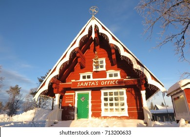 "Lapland, Finland - January 31, 2017: Finland claims to be the home of Santa Claus. You'll even find ""Santa's Office"" in Saariselka in Finnish Lapland."