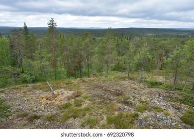 Lapland landscape, view from the Könkäänvaara, Finland