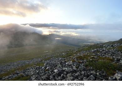 Lapland wild landscape with mountains, Pallastunturi, Palkaskero