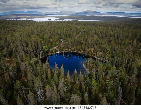 In lapland you can breathe the cleanest air in the world and admire the wonderful scenery all year round like this small lake on Sarkitunturi fell in Finland