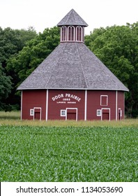 Laporte IN USA June 14 2018; this rustic door prairie  barn is a vintage landmark in this small Indiana town