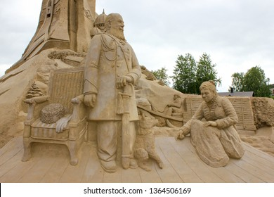 Lappeenranta, Finland. 12.06.2012. Park of sand figures about Russia, for all to see