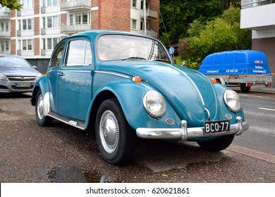 LAPPEENRANTA, FINLAND - AUGUST 18, 2016: Volkswagen Kafer - a passenger car manufactured by the German company Volkswagen AG from 1938 to 2003. In total, 21,529,464 cars were manufactured.
