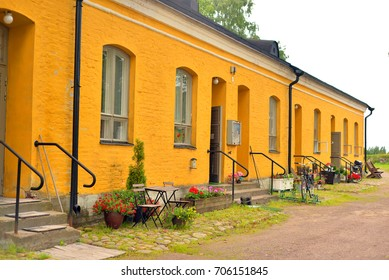 LAPPEENRANTA, FINLAND - AUGUST 18, 2017: Old house in Fortress Lappeenranta. Lappeenranta - city and municipality in Finland, in the province of Eastern Finland.