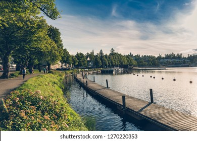 LAPPEENRANTA, FINLAND - AUGUST 8, 2017: Lappeenranta harbour and piers at sunny afternoon