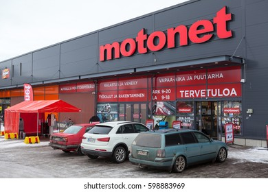 LAPPEENRANTA, FINLAND - CIRCA FEB, 2016: Building of shop of the Motonet company is in city. Entrance. The Motonet is a large chain retailer of auto and motorgoods in Finland