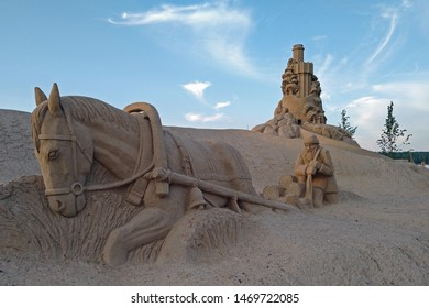 Lappeenranta, Finland - July 26, 2019: Lappeenranta's sandcastle. It is built for the 16th time to the harbour area of the city.