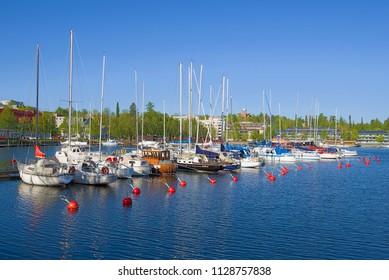 LAPPEENRANTA, FINLAND - JUNE 04, 2017: Summer in the harbor of the Saimaa lake