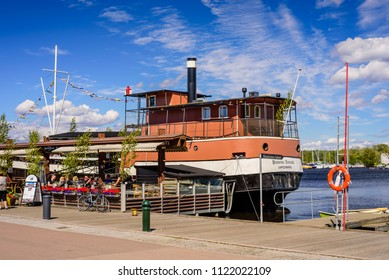 "Lappeenranta, Finland - June 23, 2018: Sights Of Lappeenranta. Old steamer-restaurant ""Princess Armada"" and Harbor with boats, beautiful summer view"