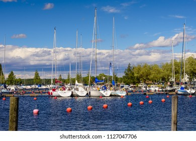 Lappeenranta, Finland - June 23, 2018: picturesque Lappeenranta port with yachts and boats on a Sunny summer day
