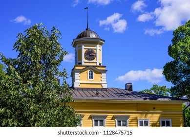 Lappeenranta, Finland - June 23, 2018: Sightseeing of Lappeenranta. Old wooden town hall in the historical center of the city