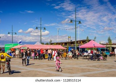 Lappeenranta, Finland - June 23, 2018: Sightseeing of Lappeenranta. Market square with people on a Sunny summer day