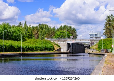 Lappeenranta, Finland - June 23, 2018: Hydraulic structure. Gateways on the Saimaa canal. Saimaa canal near Lappeenranta, beautiful summer landscape