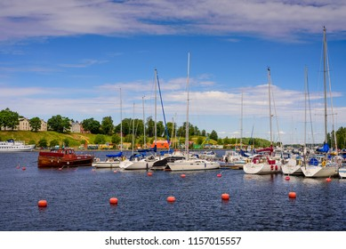 Lappeenranta, Finland - June 24, 2018: picturesque Lappeenranta port with yachts and boats on a Sunny summer day